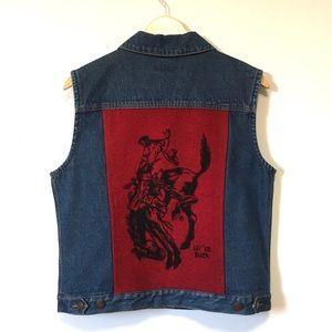 Pendleton Wool Denim Vest Vintage Jean Jacket M